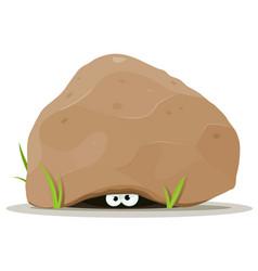 Cartoon animal eyes under big stone vector
