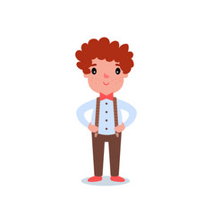 Cartoon character of little boy with red hair and vector