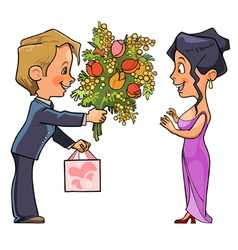cartoon man in suit gives a bouquet of flowers vector image