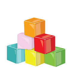 Cartoon pyramid of colored cubes toy cubes for vector