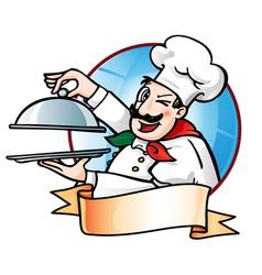 chef presenting dish vector image