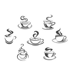 Coffee cups or mugs steam icons set vector