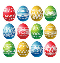 color easter eggs isolated on white background vector image