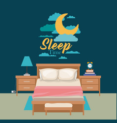Color poster scene night landscape of cute bedroom vector