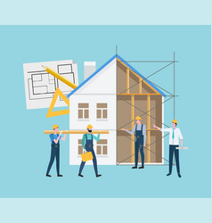construction house workers and building vector image