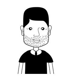 Contour man with beard and hairstyle vector