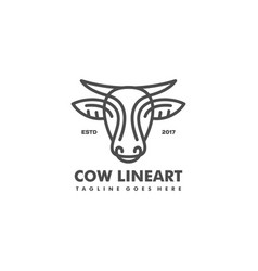 cow line art concept design template vector image