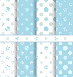 Cute bapatterns set - seamless boy blue texture vector