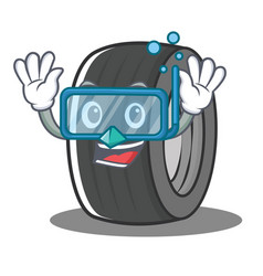 Diving tire character cartoon style vector