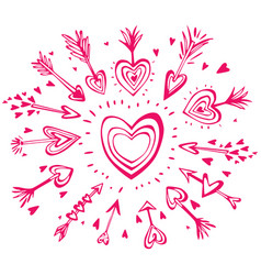 doodle hand drawn arrows with hearts vector image
