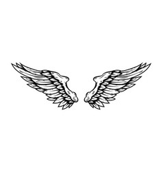 eagle wings in tattoo style isolated on white vector image