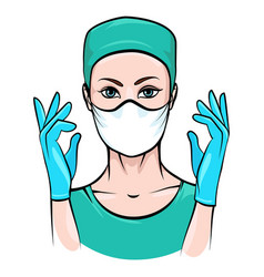 Female surgeon vector