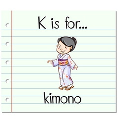 Flashcard letter K is for kimono vector