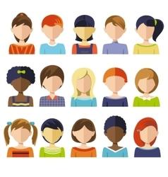 Flat Children Heads Icon Set vector