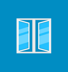 flat open plastic window icon on blue vector image