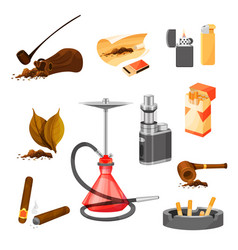 Flat set of items related to smoking theme vector