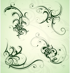 Floral swirls set vector image