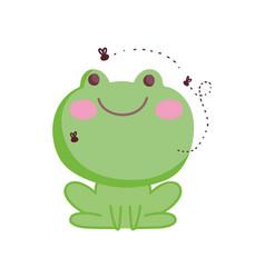 frog and flies farm animal cartoon background vector image