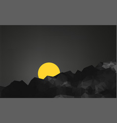 geometric mountains landscape at sunset vector image