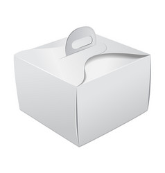 gift packaging white box with handle mockup for vector image