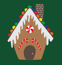 Gingerbread house isolated on green background vector