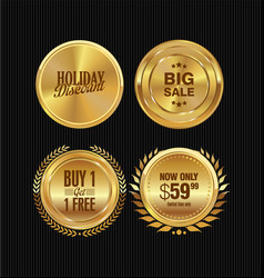golden metal badges collection 3 vector image