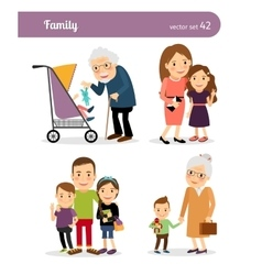 Grandparents and grandchildren vector