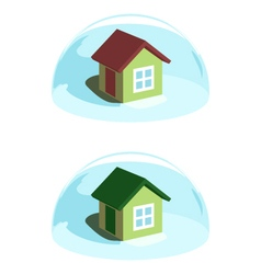 Green house under the blue dome protection vector