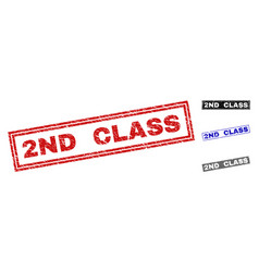 grunge 2nd class scratched rectangle watermarks vector image