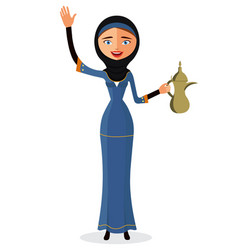 happy arab woman holding an arabic coffee pot vector image