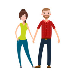 happy couple man and woman isolated white vector image