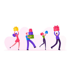 happy people carry gift boxes walking in row male vector image