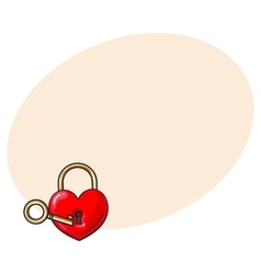 Heart shaped padlock and key for love lock unity vector image