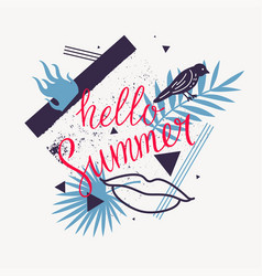 hello summer modern poster on abstract background vector image