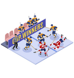 hockey game isometric composition vector image