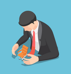 isometric businessman protecting office chair vector image