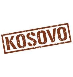 Kosovo brown square stamp vector