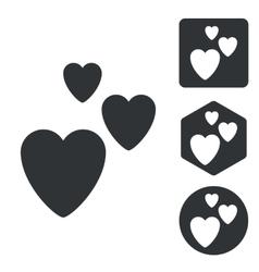 Love icon set monochrome vector