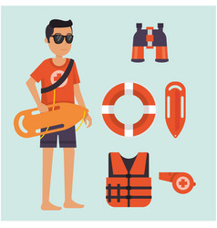 Male life guard standing watching situation on vector