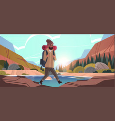 Man traveler hiking with backpack travel lifestyle vector