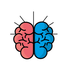 Mental health smart brain line icon vector