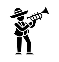 Mexican with trumpet glyph icon latin musician vector