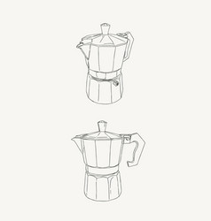 moka pot coffee brewing sketh vector image