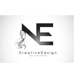 Ne letter logo design with black smoke vector