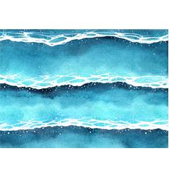 Ocean wave watercolor painting background vector