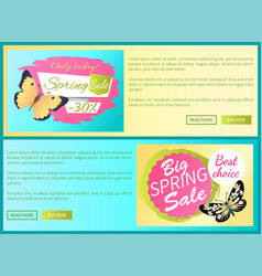 Only today spring sale labels posters butterfly vector