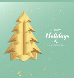 paper art christmas tree merry christmas vector image