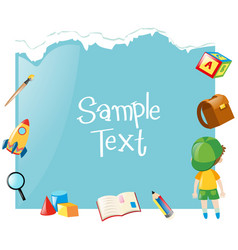Paper template with boy and school items vector