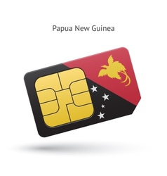 Papua New Guinea mobile phone sim card with flag vector image