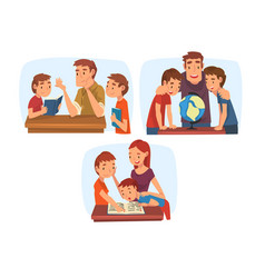 parents teaching their children set mom and dad vector image